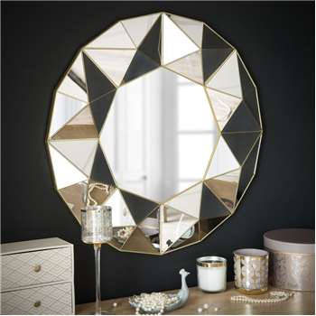 FIORENZA Mirror With Geometric Patterns (Diameter 60cm)