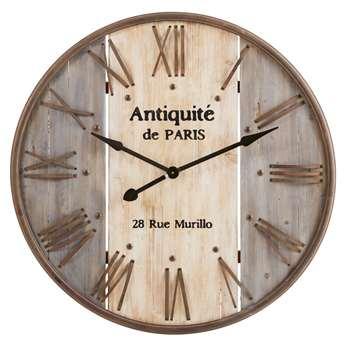 VALERIANE Fir and Metal Clock (92 x 92cm)