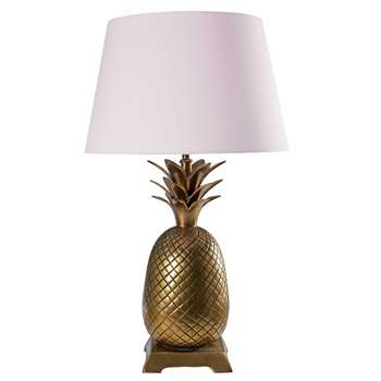 FIRENZE Gold metal pineapple lamp with pink cotton shade (66 x 40cm)