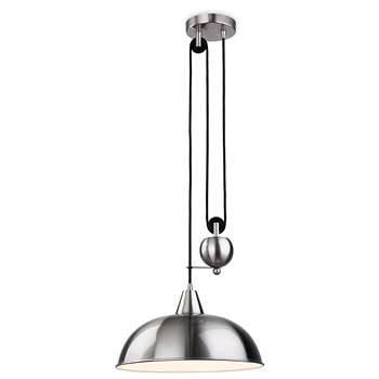 Firstlight 2309BS E27 Edison Screw 60 Watt Century Rise and Fall Pendant Light, Brushed Steel (Diameter 38cm)