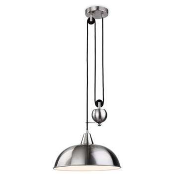 Firstlight 2309BS E27 Edison Screw 60 Watt Century Rise and Fall Pendant Light, Brushed Steel (Diameter 38cm)
