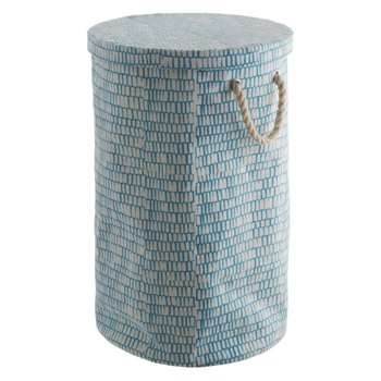 Firth Blue printed canvas laundry bin (Diameter 38cm)