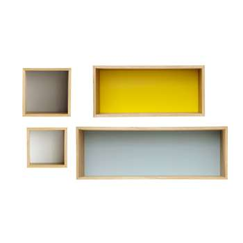 FJORD 4 vintage multicoloured wooden wall shelves L 25 to 100 cm
