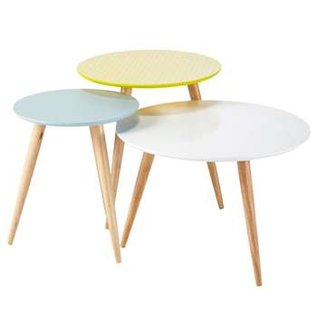 FJORD Nest of 3 Vintage Coffee Tables, Multicoloured (Width 40-60cm)