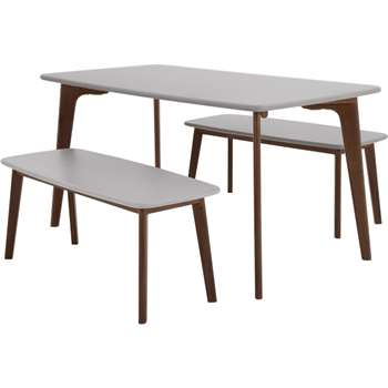 Fjord Rectangle Dining Table and Bench Set, Dark Stain Oak and Grey (75 x 151cm)