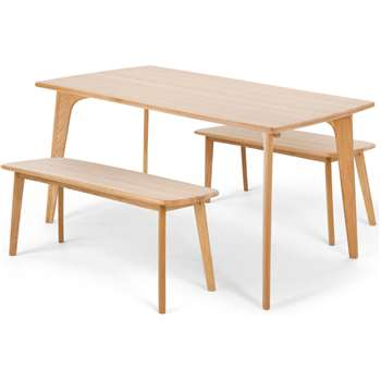 Fjord Rectangle Dining Table and Bench Set, Oak (75 x 151cm)