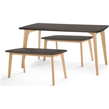 Fjord Rectangle Dining Table and Bench Set, Oak and Grey (75 x 151cm)