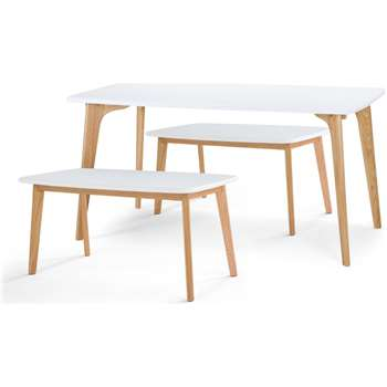 Fjord Rectangle Dining Table and Bench Set, Oak and White (75 x 151cm)