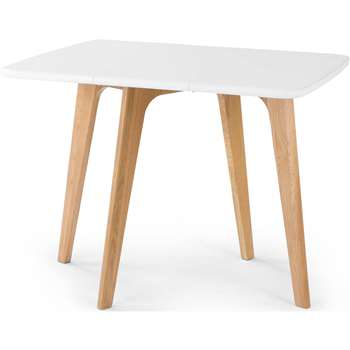 Fjord Rectangular Gateleg Table, Oak and White (72 x 34-95cm)