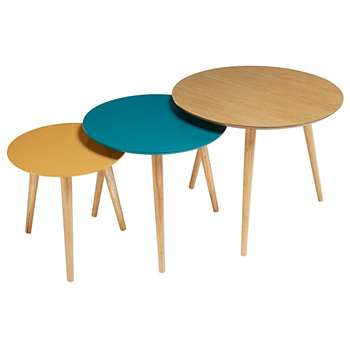 FJORD Set of 3 Tricoloured Vintage Nest of Tables (50 x 60cm)