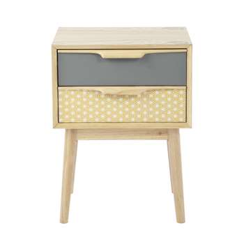 FJORD Vintage 2-Drawer Bedside Table, Yellow/Grey (56 x 42cm)
