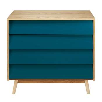 FJORD Vintage Petrol Blue 4-Drawer Chest (80 x 90cm)