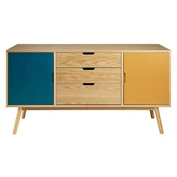 FJORD Vintage Tricoloured 2-Door 3-Drawer Sideboard (H75 x W145 x D45cm)