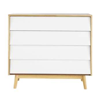 FJORD Vintage White 4-Drawer Chest (80 x 90cm)