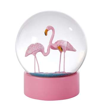 FLAMINGO Pink Flamingo Snow Globe (12 x 10cm)
