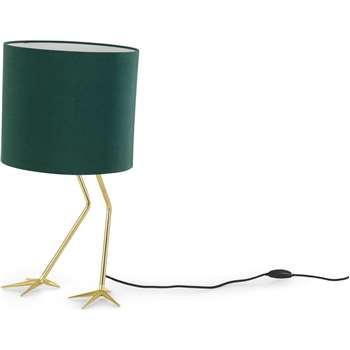 Flamingo Table Lamp, Brass and Green (H59 x W30 x D30cm)