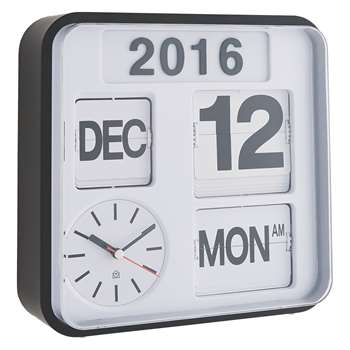 Flap White small analogue year wall clock (H25 x W25cm)