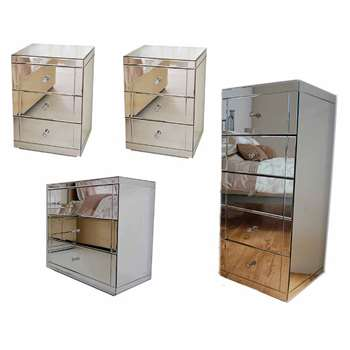 FLAVIA 3dr Mirrored Low Chest, 2x LUCIA Mirrored Bedside Tables & 1x JULIANNA Mirrored Tallboy Chest