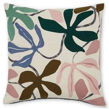 Flavia Embroidered Cushion, Multi (H45 x W45cm)
