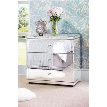 FLAVIA Mirrored Low Chest with 3 Drawers and Plinth (82 x 86cm)