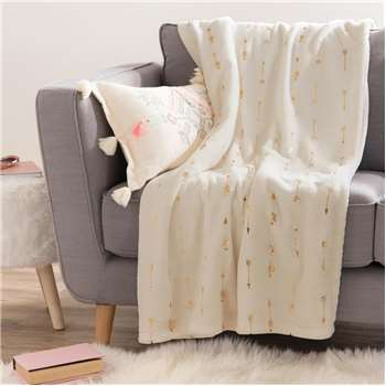 FLECHES white fabric throw with gold motifs (150 x 200cm)
