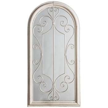 Fleura Outdoor Garden Wall Ornate Arched Mirror, Antique Ivory (H96.5 x W49 x D4cm)