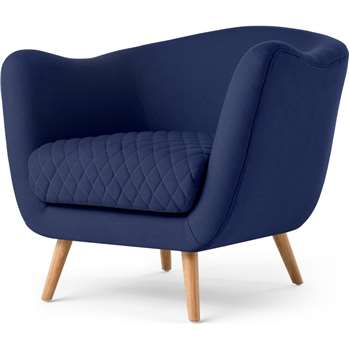 Flick Accent Chair, Cobalt Blue (H79 x W85 x D84cm)
