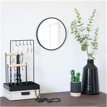 Flick - Round Black Metal Mirror (H20.5 x W20.5 x D1cm)