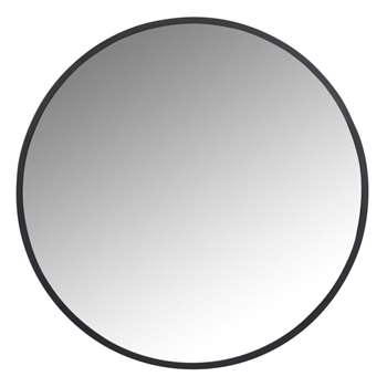 FLICK - Round Black Metal Mirror (H60 x W60 x D1cm)