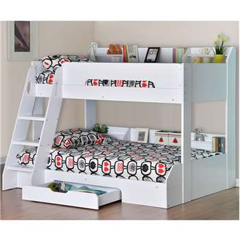 Flick Triple Bunk Bed in White (159 x 164.5 x 198cm)