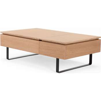 Flippa Functional Coffee Table with Storage, Oak (38 x 120cm)