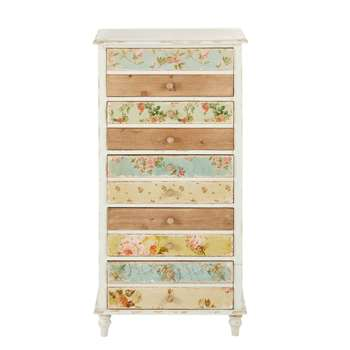FLORA White 5-Drawer Chest with Floral Print Flora (102 x 51cm)