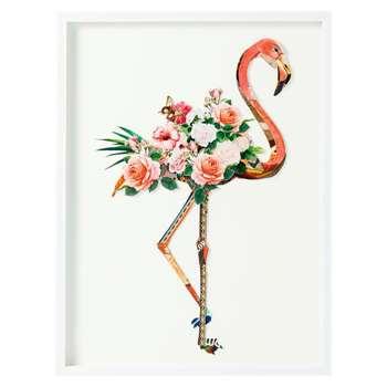 Floral flamingo art (H100 x W75 x D4cm)
