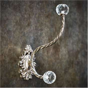 Floral Metal Hook With Cut Glass (9 x 15.3cm)