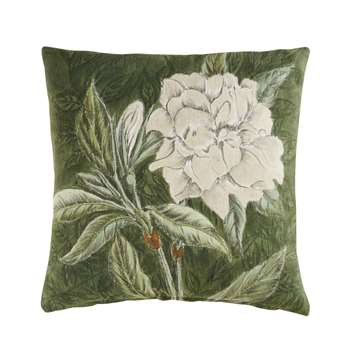 FLORALIS Green Cotton Cushion with Flower Print (40 x 40cm)