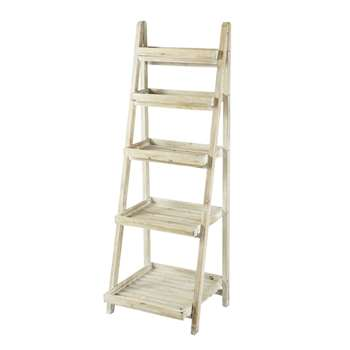 FLORENTINE whitewashed wood ladder shelf unit W 50cm