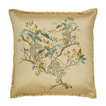 Florintine with Leopard Embroidered Antique Gold Cushion (H50 x W50cm)