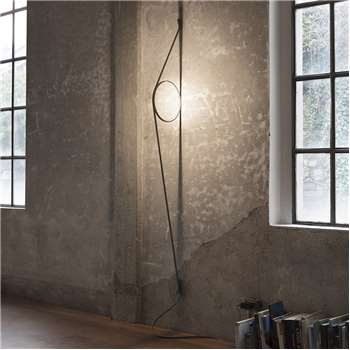 Flos - WireRing Wall Light - Grey Cable/Gold Ring (H208 x W2cm)