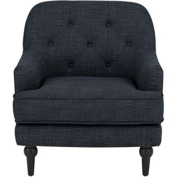 Flynn Armchair, Atlantic Blue Linen Mix (80 x 75cm)
