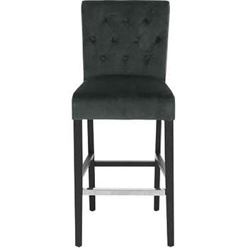 Flynn Bar Stool, Midnight Grey Velvet