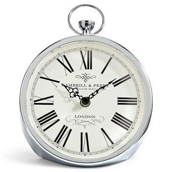 Fob Mantel Clock, Silver (H23 x W17.2 x D10cm)