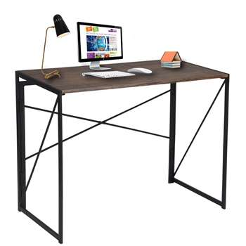 Folding Computer Desk, Brown (H75 x W100 x D50cm)