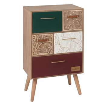 FOLIAGE Small 5-Drawer Storage Unit with Graphic Print (H64 x W40 x D25.5cm)