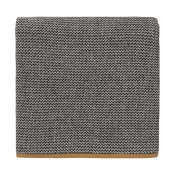 Foligno Cashmere Blanket, Black, Cream & Ochre (H140 x W200cm)