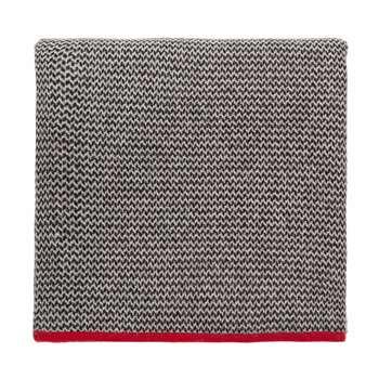 Foligno Cashmere Blanket, Black, Cream & Red (H140 x W200cm)