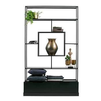 Fons Black Shelving Unit with Drawers by Woood (H204 x W126 x D38cm)