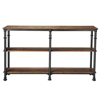 FONTAINEBLEAU Recycled solid mango wood and metal console table in black (Width 160cm)