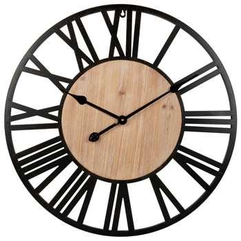 FONTANA - Black Metal Clock (Diameter 60cm)