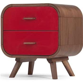 Fonteyn Bedside Table, Walnut and Red (55 x 50cm)