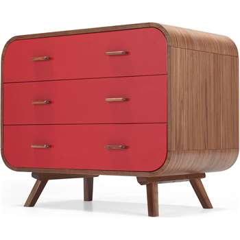 Fonteyn Chest of Drawers, Walnut and Red (73.3 x 90cm)
